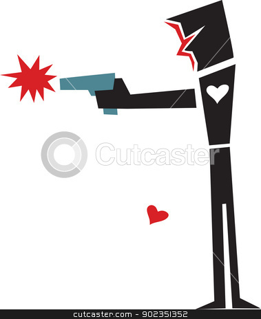 Heartless Gunman stock vector clipart, Abstract person with gun and missing heart over white background by Eric Basir