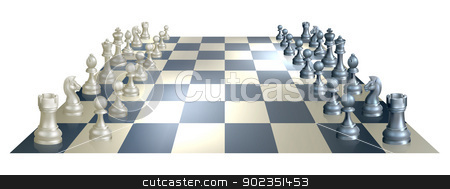 Chess board and pieces stock vector clipart, An illustration of a chess board and pieces in perspective at the opening of a chess game by Christos Georghiou
