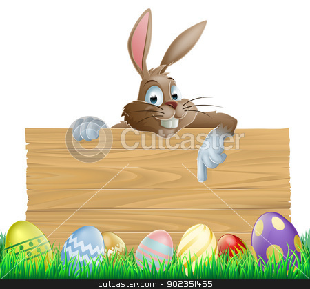 Bunny character pointing and Easter eggs stock vector clipart, An Easter bunny character peeking over a wooden Easter sign pointing his finger down at space for your message. Surrounded by decorated chocolate Easter eggs by Christos Georghiou