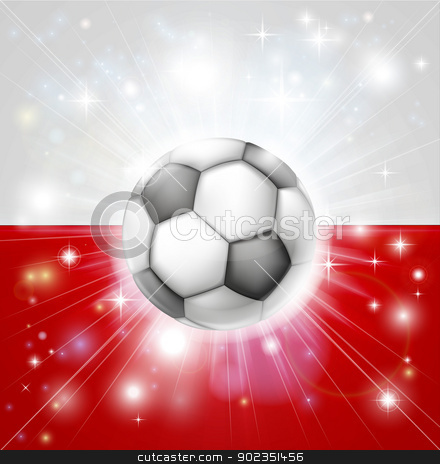 Poland soccer flag stock vector clipart, Flag of Poland soccer background with pyrotechnic or light burst and soccer football ball in the centre  by Christos Georghiou