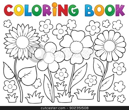 Coloring book with flower theme 2 stock vector clipart, Coloring book with flower theme 2 - vector illustration. by Klara Viskova