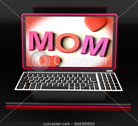 Mom On Laptop Showing Digital Card stock photo, Mom On Laptop Showing Digital Card Or Mother's Love by stuartmiles