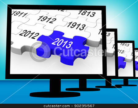 2013 On Monitors Shows Future Year stock photo, 2013 On Monitors Shows Year Or Calander by stuartmiles