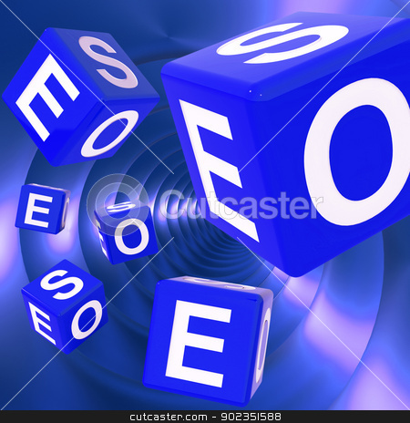 SEO Dice Background Shows Optimized Search Engine  stock photo, SEO Dice Background Shows Optimized Search Engine Or Online Searching  by stuartmiles