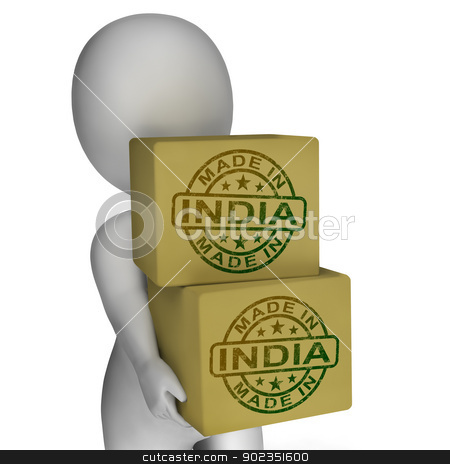 Made In India Stamp On Boxes Shows Indian Products stock photo, Made In India Stamp On Boxes Showing Indian Products by stuartmiles