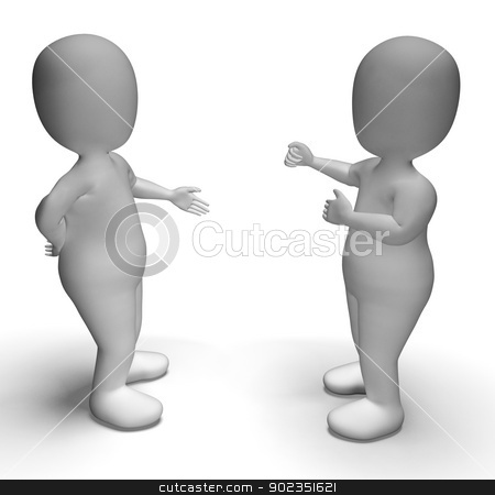 Discussion Between Two 3d Characters Showing Communication  stock photo, Discussion Between Two 3d Characters Shows Communication  by stuartmiles