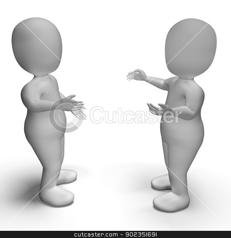 Conversation Between Two 3d Characters Showing Communication  stock photo, Conversation Between Two 3d Characters Shows Communication  by stuartmiles
