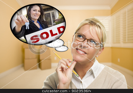 Woman In Empty Room with Thought Bubble of Agent Handing Over Ne stock photo, Attractive Woman In Empty Room with Thought Bubble of Agent and Sold Sign Handing Over New Keys. by Andy Dean