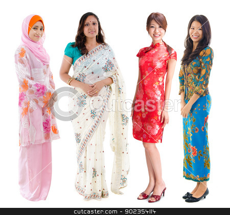 Southeast Asian group. stock photo, Group of Southeast Asian women in different culture. Full body diversity women in different traditional costume standing on white background. by szefei