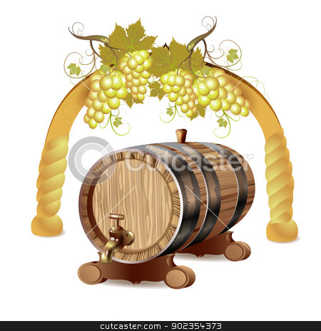 Wine barrel  stock vector clipart, Wine barrel with white grapes  by Merlinul