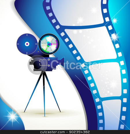 Film frames stock vector clipart, Film frames with camera by Merlinul