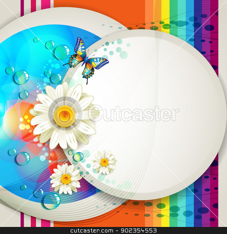 Abstract background with flowers stock vector clipart, Abstract background with flowers and butterfly  by Merlinul