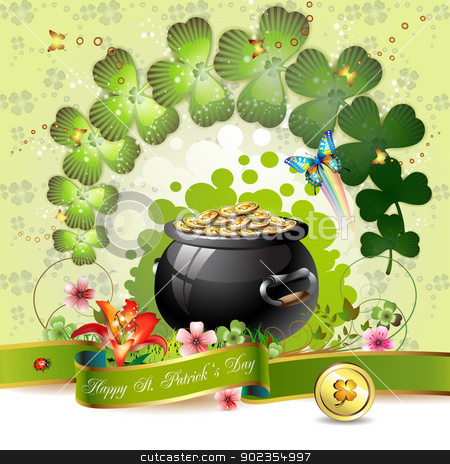St. Patrick's Day card stock vector clipart, St. Patrick's Day card design with clover and coins  by Merlinul