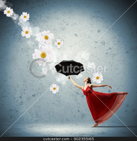 Ballet dancer in flying satin dress with umbrella stock photo, ballet dancer in flying satin dress with umbrella and flowers by Sergey Nivens