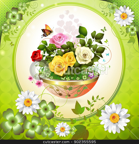 Flowers in flowerpot stock vector clipart, Flowers in flowerpot with roses and butterflies by Merlinul