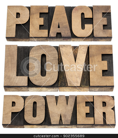 peace, love, power words stock photo, peace, love, power words - isolated text in vintage letterpress wood type printing blocks by Marek Uliasz