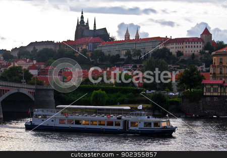 Prague stock photo, view of the castle of Prague over the river by Juliane Jacobs