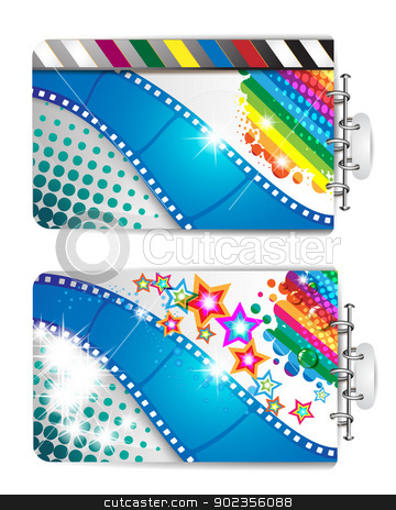 Film frames and stars  stock vector clipart, Banner with film frames and stars  by Merlinul