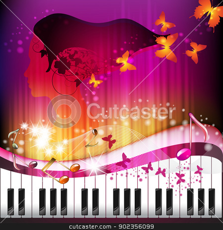 Piano keys with portrait stock vector clipart, Piano keys with portrait woman, butterflies and stars  by Merlinul