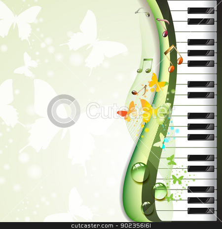 Piano keys with butterflies stock vector clipart, Piano keys with butterflies and drops  by Merlinul