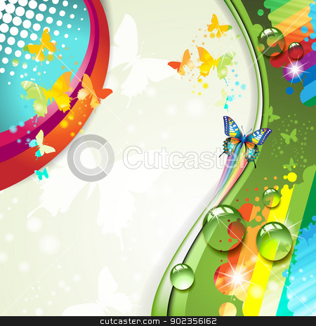 Colorful abstract background stock vector clipart, Colorful abstract background with butterflies  by Merlinul