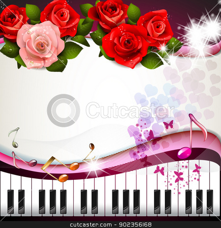 Piano keys with roses stock vector clipart, Piano keys with roses and butterflies  by Merlinul