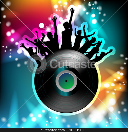 Dancing silhouettes and disco light stock vector clipart, Vinyl record and dancing silhouettes  by Merlinul