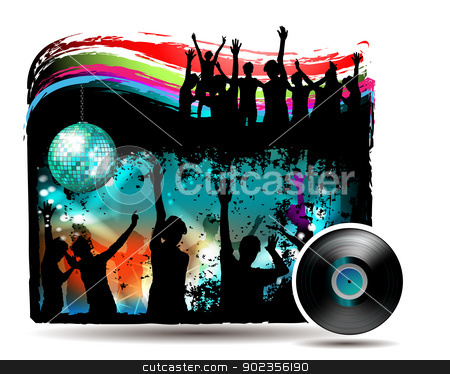 Banner with dancing silhouettes stock vector clipart, Banner with dancing silhouettes and disco lights over white  by Merlinul