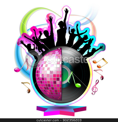 Dancing silhouettes with disco ball stock vector clipart, Dancing silhouettes with disco ball over white by Merlinul