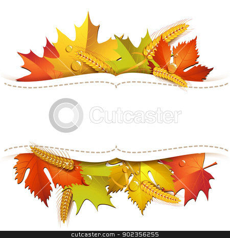 Wood background with leaves stock vector clipart, Wood background with autumn colorful leaves by Merlinul