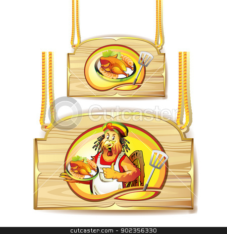 Cartoon cook coconut stock vector clipart, Cartoon cook coconut and smoked chicken over wood banner by Merlinul