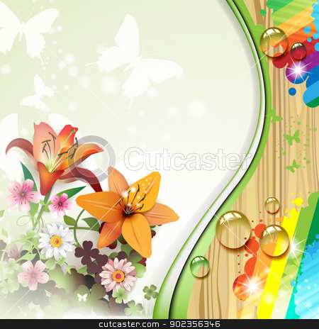 Wood background with lilies stock vector clipart, Wood background with lilies and drops  by Merlinul