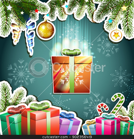 Christmas card stock vector clipart, Christmas card with gifts box by Merlinul