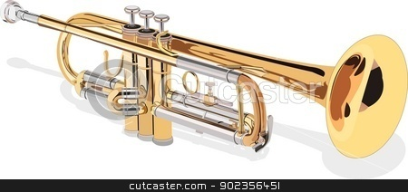 Trompete-Trumpet stock vector clipart, Vector illustration of a trumpet, isolated piece by kancela