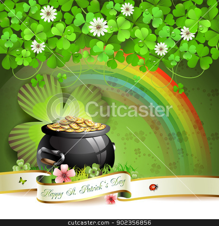 Saint Patrick's Day card stock vector clipart, Saint Patrick's Day greeting card with pot, coins and ribbon by Merlinul