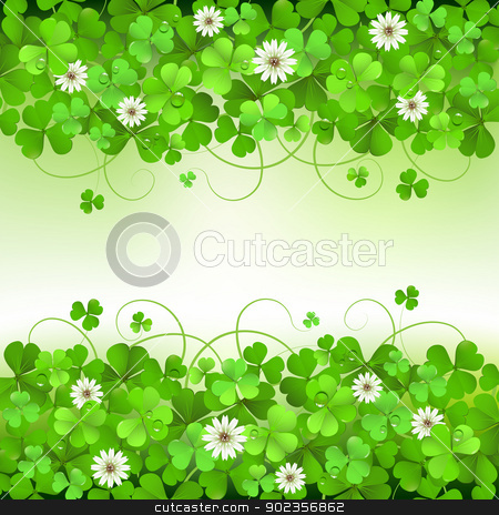 Saint Patrick's Day background stock vector clipart, Saint Patrick's Day background with clover by Merlinul