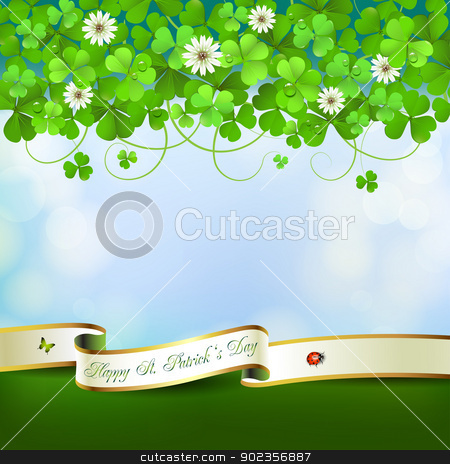 Saint Patrick's Day card stock vector clipart, Saint Patrick's Day greeting card with clover and ribbon by Merlinul