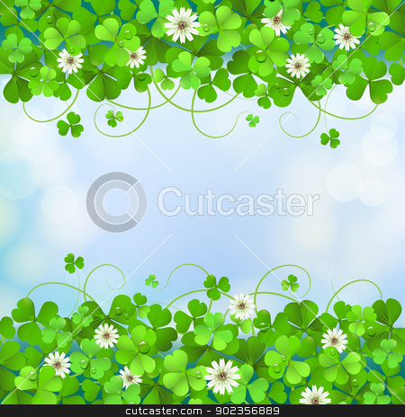 Saint Patrick's Day card stock vector clipart, Saint Patrick's Day background with clover by Merlinul