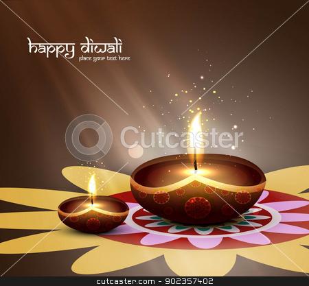 happy diwali beautiful card design vector stock vector clipart, happy diwali beautiful card design vector by bharat pandey