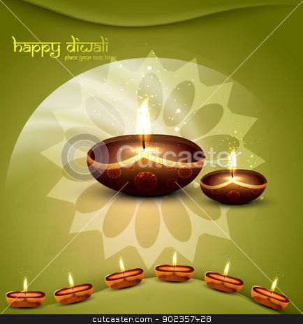 happy diwali green beautiful card vector  stock vector clipart, happy diwali green beautiful card vector  by bharat pandey