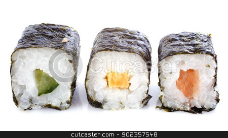 sushi rolls stock photo, sushi rolls in front of white background by Bonzami Emmanuelle
