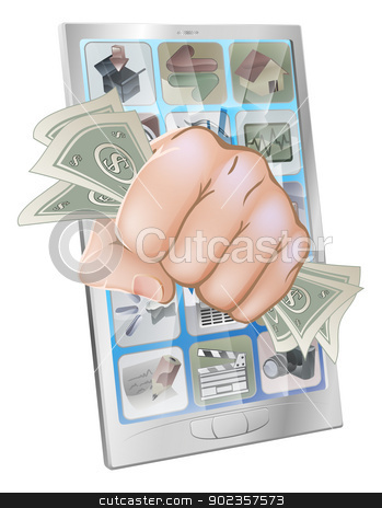 Fist smashing out of phone with money stock vector clipart, An illustration of a mobile phone with a fist full of money smashing out of the screen by Christos Georghiou