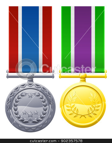 Military style medals stock vector clipart, A illustration of two military style medals or decorations  by Christos Georghiou