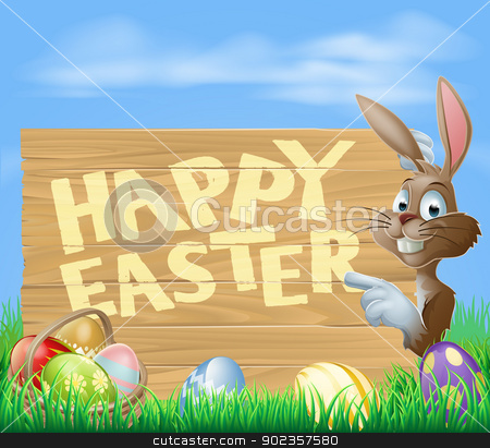 Easter bunny Happy Easter Sign stock vector clipart, A cartoon Easter bunny pointing at a wooden Easter sign saying Happy Easter with painted Chocolate Eggs by Christos Georghiou