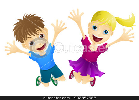 Happy children jumping in the air stock vector clipart, A cartoon of two happy children, a boy and girl, jumping for joy by Christos Georghiou