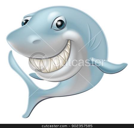 Cartoon Shark stock vector clipart, An illustration of a cartoon Great White Shark character or mascot by Christos Georghiou