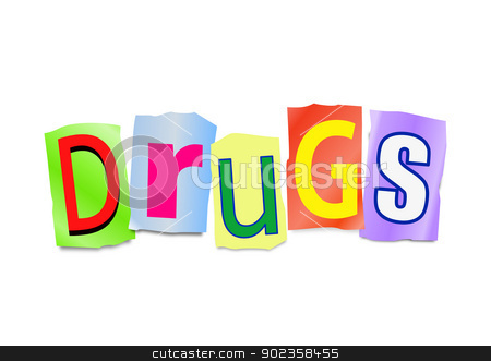 Drugs concept. stock photo, Illustration depicting cutout printed letters arranged to form the word drugs. by Samantha Craddock