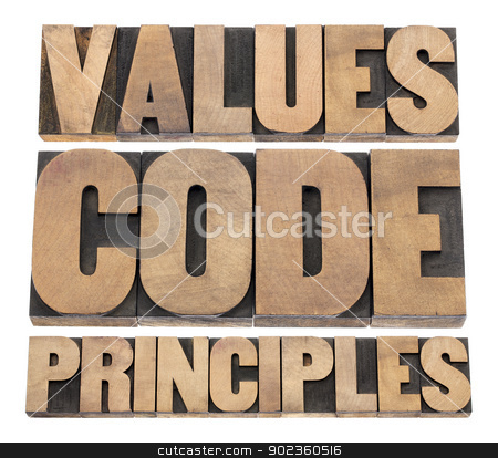 values, code, principles stock photo, values, code, principles words - a collage of isolated text in vintage letterpress wood type printing blocks by Marek Uliasz