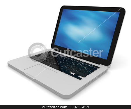 Modern laptop with abstract background on the screen stock photo, 3D render of a silver unibody laptop with abstract blue screen by Harvepino