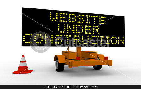 Website under construction stock photo, Cart with signboard displaying Website under construction by Harvepino
